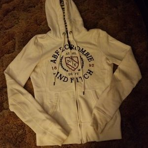 White Abercrombie and Fitch zip up hoodie